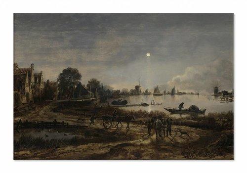 Riviergezicht bij maanlicht • liggende afdruk op canvas