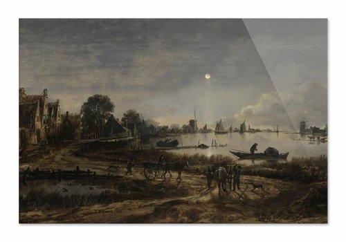 Riviergezicht bij maanlicht • liggende afdruk op plexiglas