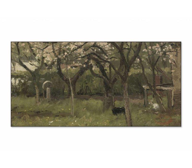 Bloeiende boom in boomgaard • liggende afdruk op textiel