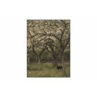 Bloeiende boom in boomgaard • staande afdruk op textiel