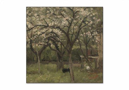Bloeiende boom in boomgaard • vierkante afdruk op textiel