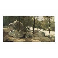 Bosgezicht nabij Barbizon • liggende afdruk op canvas