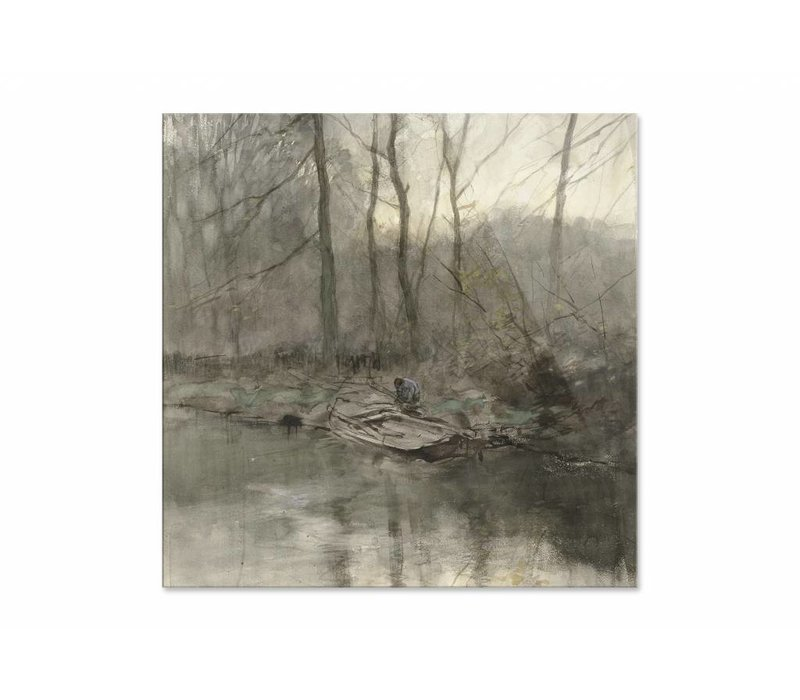 Bosrand aan het water • vierkante afdruk op plexiglas