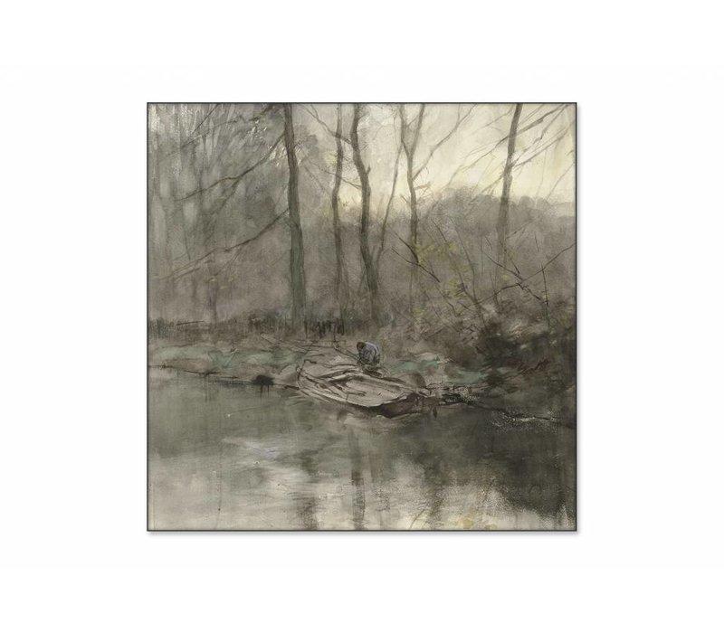 Bosrand aan het water • vierkante afdruk op textiel