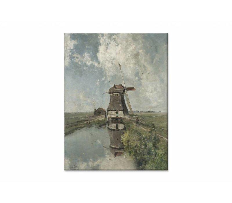 Een molen aan een poldervaart • staande afdruk op canvas