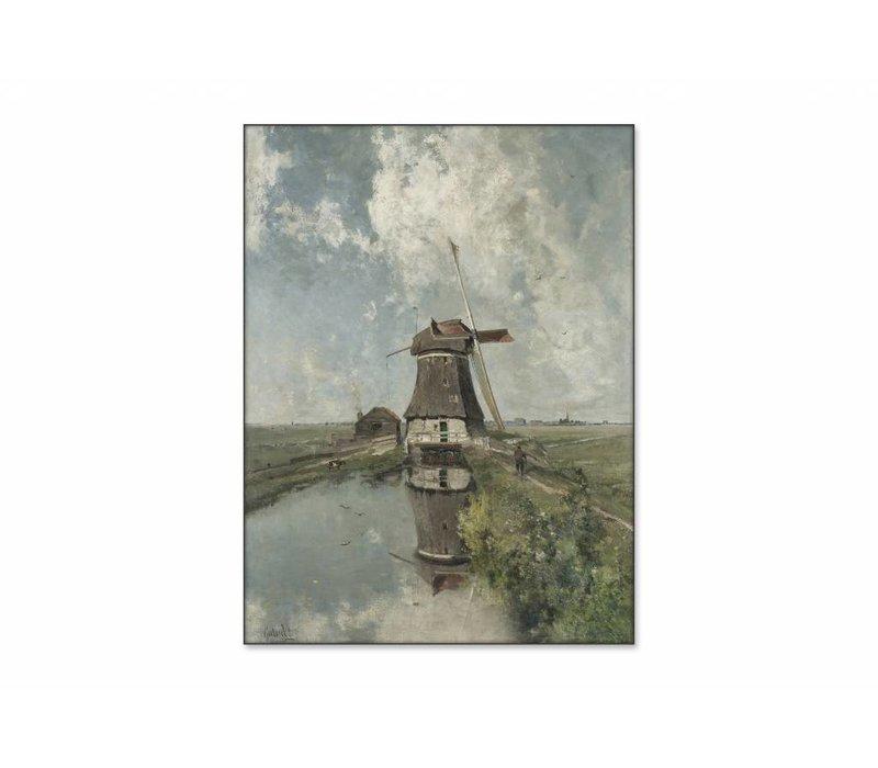 Een molen aan een poldervaart • staande afdruk op textiel