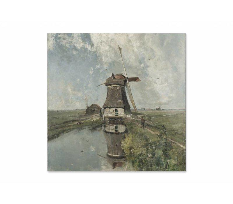 Een molen aan een poldervaart • vierkante afdruk op plexiglas