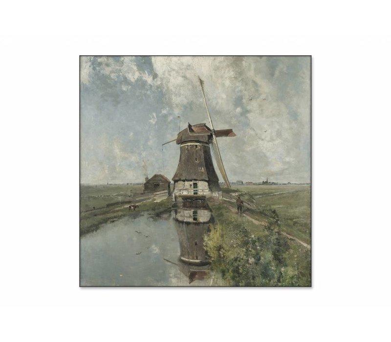 Een molen aan een poldervaart • vierkante afdruk op textiel