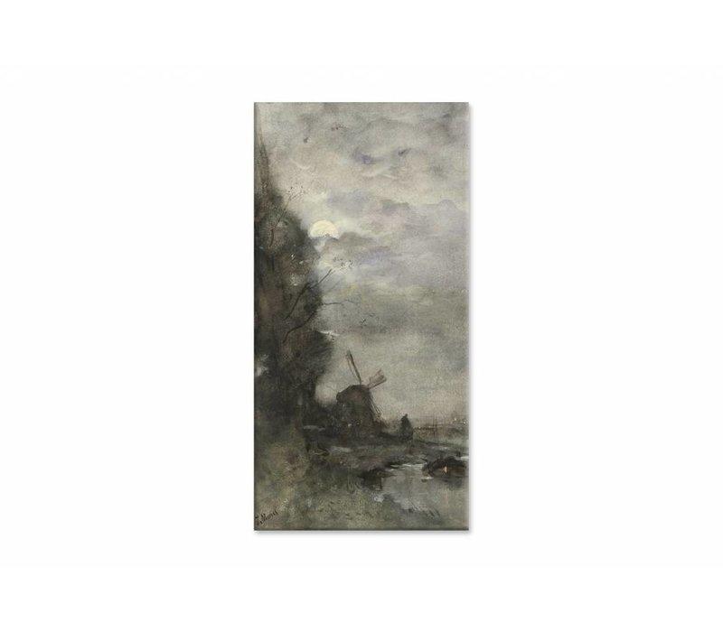 Landschap met molen bij maanlicht • staande afdruk op canvas