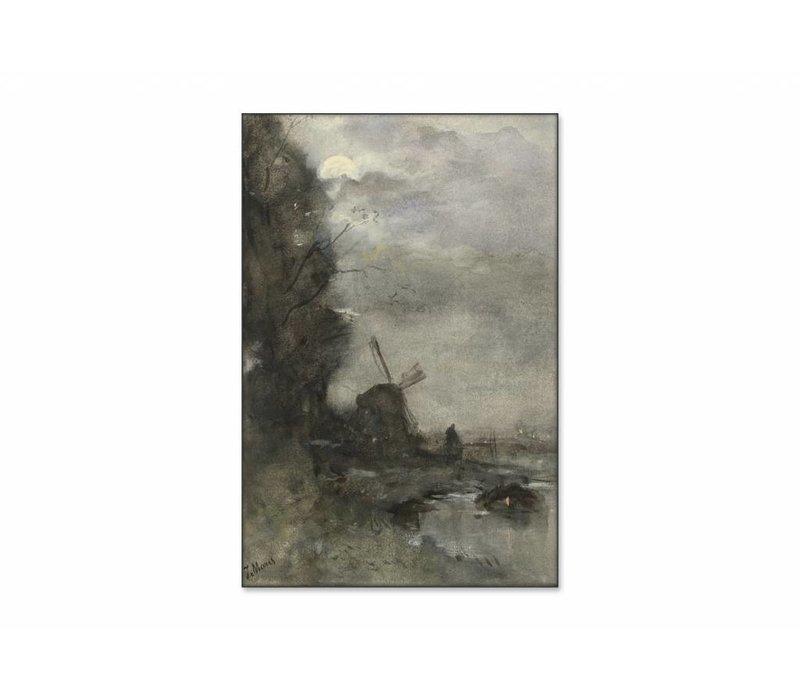 Landschap met molen bij maanlicht • staande afdruk op textiel