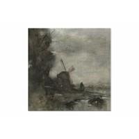 Landschap met molen bij maanlicht • vierkante afdruk op canvas