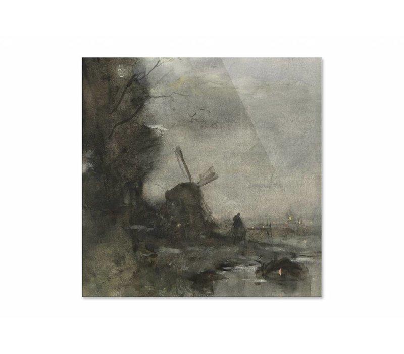 Landschap met molen bij maanlicht • vierkante afdruk op plexiglas