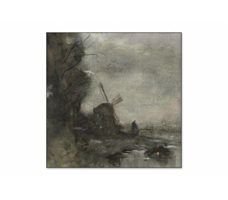 Landschap met molen bij maanlicht • vierkante afdruk op textiel