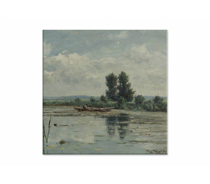 Plas bij Loosdrecht • vierkante afdruk op canvas