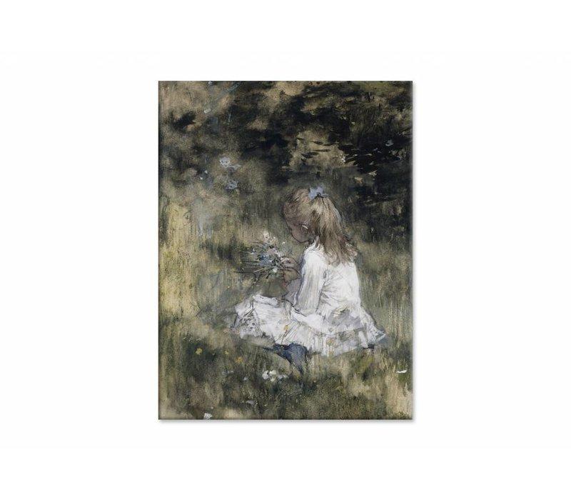 Een meisje met bloemen in het gras • staande afdruk op canvas