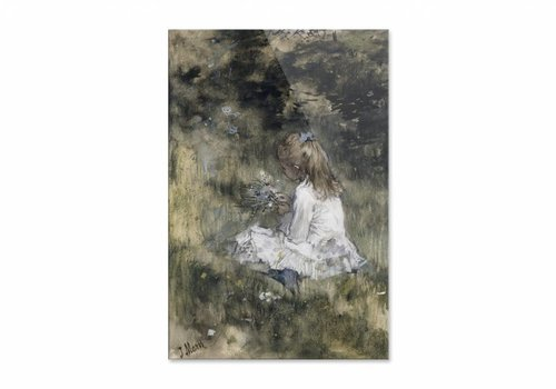 Een meisje met bloemen in het gras • staande afdruk op plexiglas