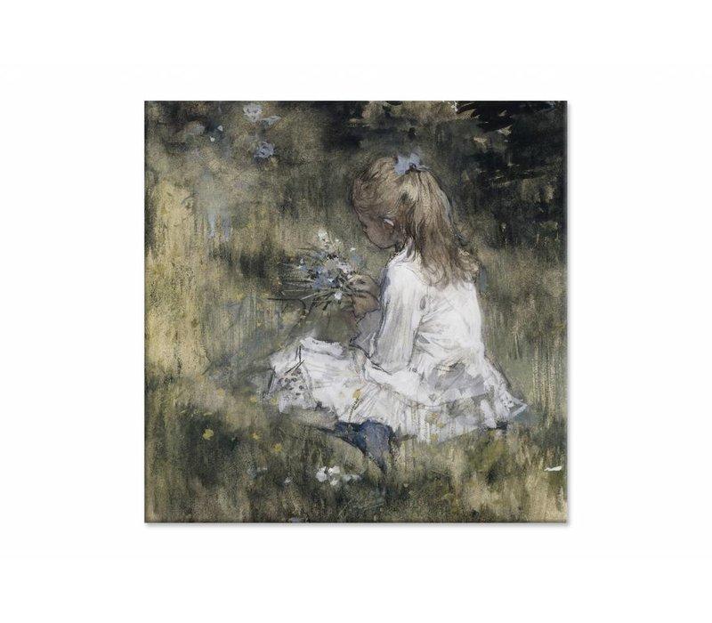 Een meisje met bloemen in het gras • vierkante afdruk op canvas