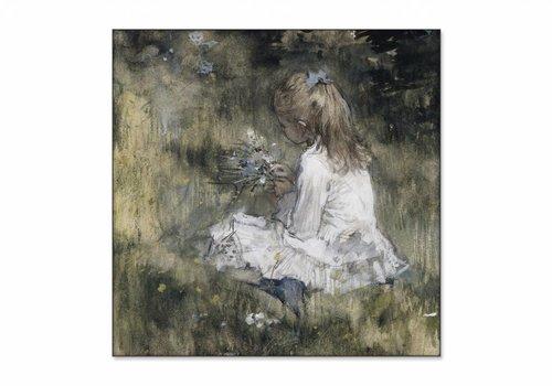 Een meisje met bloemen in het gras • vierkante afdruk op textiel