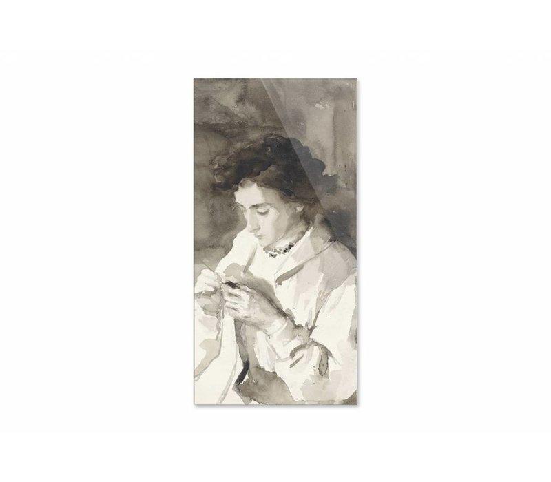 Hakende vrouw • staande afdruk op plexiglas