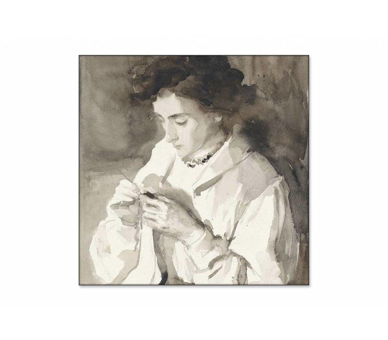 Hakende vrouw • vierkante afdruk op textiel