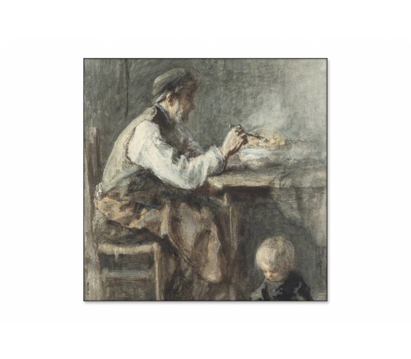 De schoenmaker • vierkante afdruk op textiel
