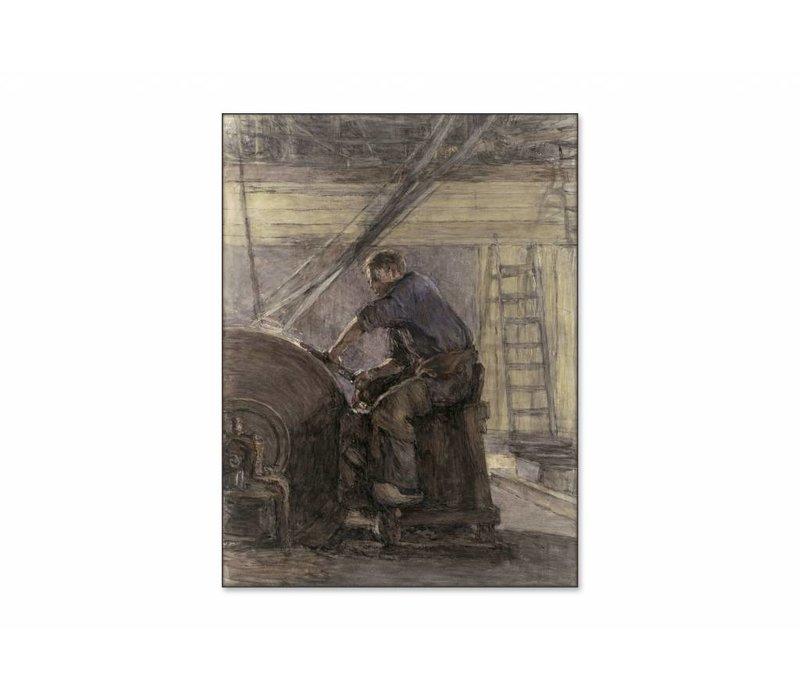 De slijper • staande afdruk op textiel