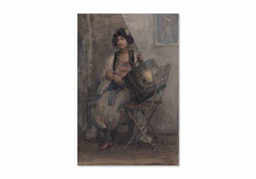 De trommelaarster • staande afdruk op plexiglas
