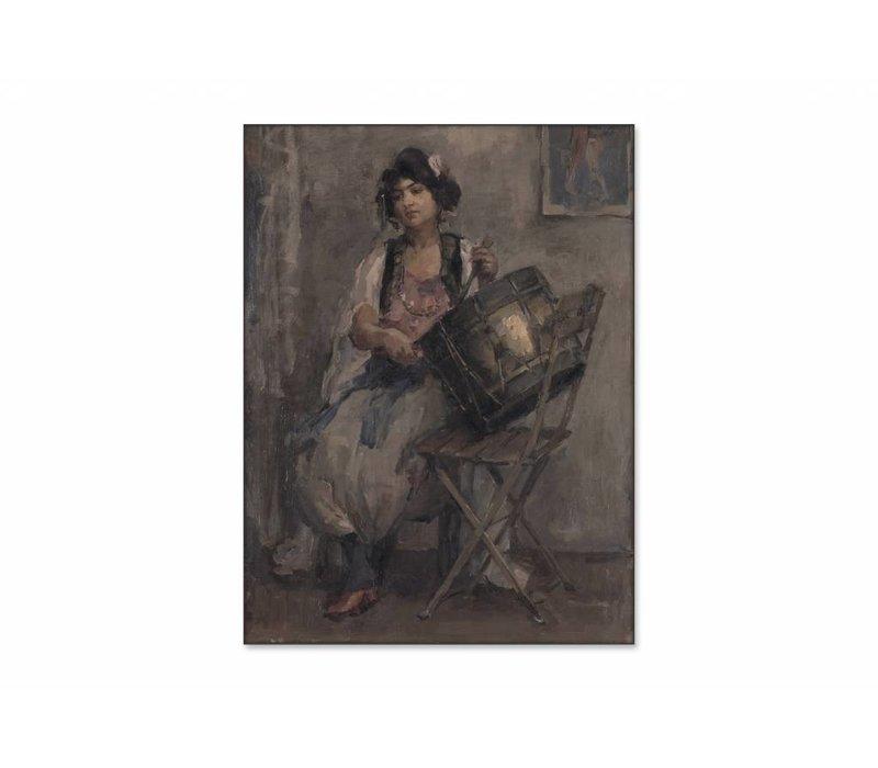 De trommelaarster • staande afdruk op textiel