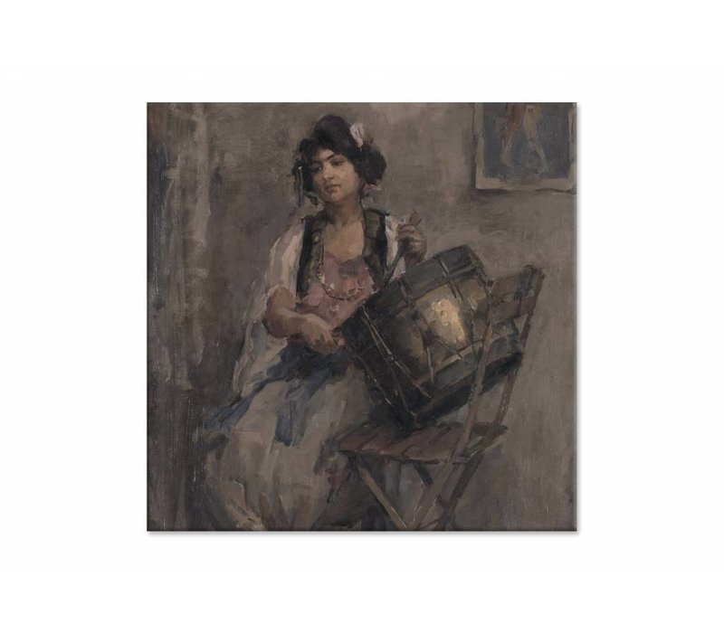 De trommelaarster • vierkante afdruk op canvas