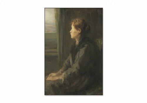 Vrouw aan een raam • staande afdruk op textiel