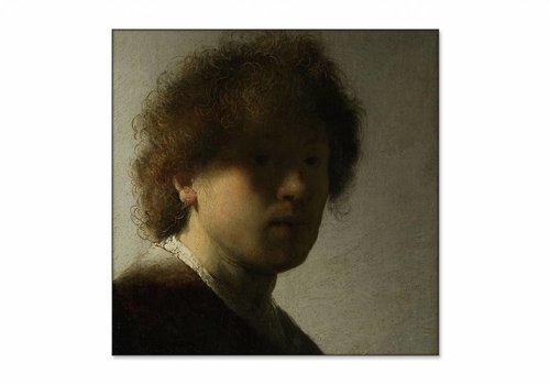 Zelfportret op jeugdige leeftijd • vierkante afdruk op textiel