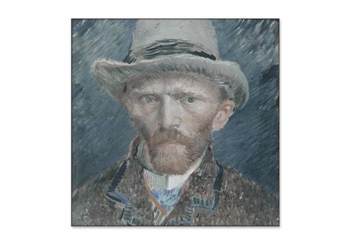 Zelfportret • vierkante afdruk op textiel