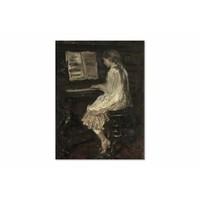 Meisje aan de piano • staande afdruk op canvas