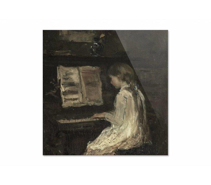 Meisje aan de piano • vierkante afdruk op plexiglas