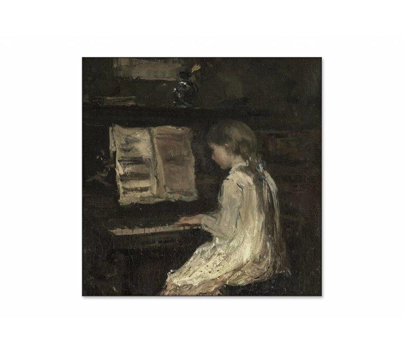 Meisje aan de piano • vierkante afdruk op textiel