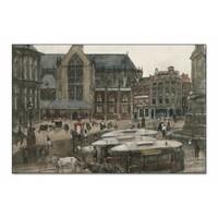 De Dam te Amsterdam • liggende afdruk op textiel