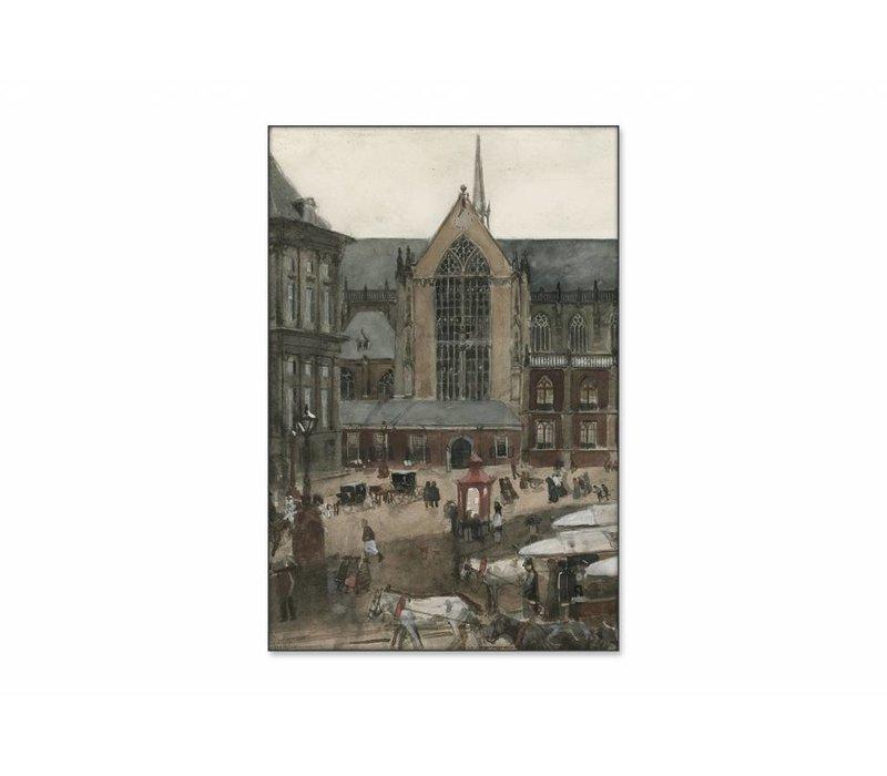 De Dam te Amsterdam • staande afdruk op textiel