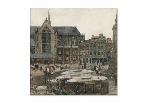 De Dam te Amsterdam • vierkante afdruk op canvas