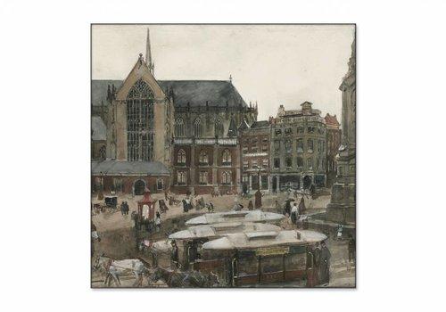 De Dam te Amsterdam • vierkante afdruk op textiel