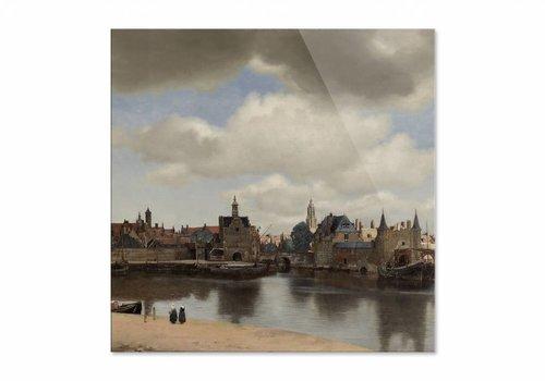 Gezicht op Delft • vierkante afdruk op plexiglas