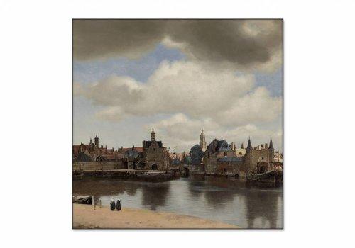Gezicht op Delft • vierkante afdruk op textiel