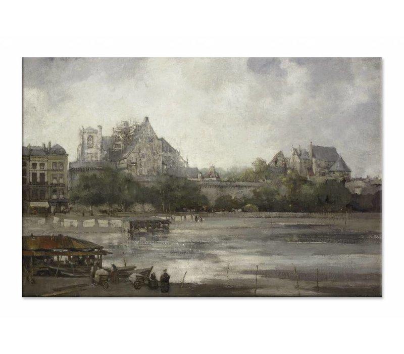Gezicht op Nantes • liggende afdruk op canvas