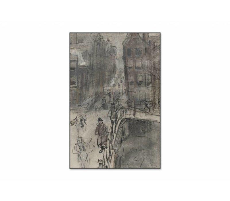 Brug over het Singel bij de Oud Spiegelstraat te Amsterdam • staande afdruk op textiel