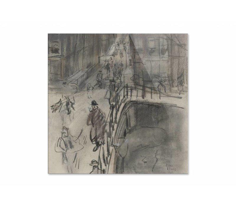Brug over het Singel bij de Oud Spiegelstraat te Amsterdam • vierkante afdruk op plexiglas