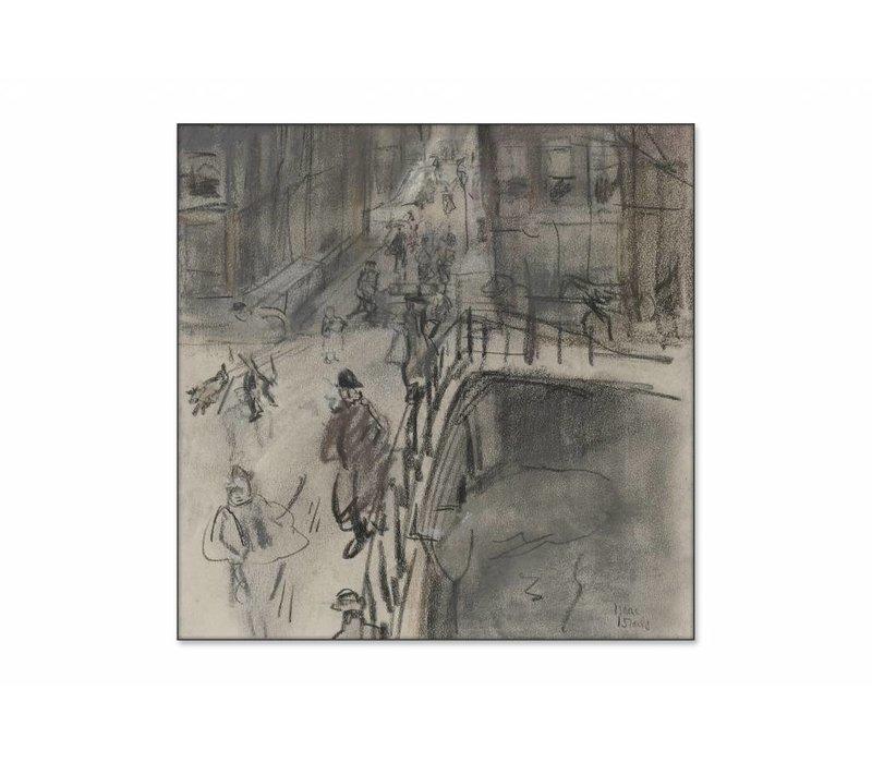 Brug over het Singel bij de Oud Spiegelstraat te Amsterdam • vierkante afdruk op textiel