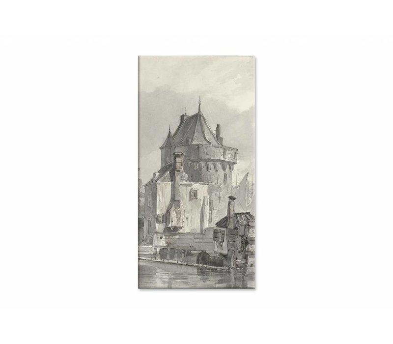 Gezicht op de hoofdtoren te Hoorn • staande afdruk op canvas