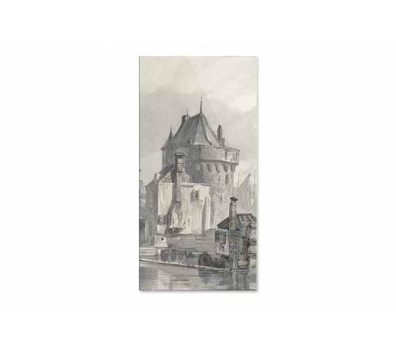 Gezicht op de hoofdtoren te Hoorn • staande afdruk op plexiglas