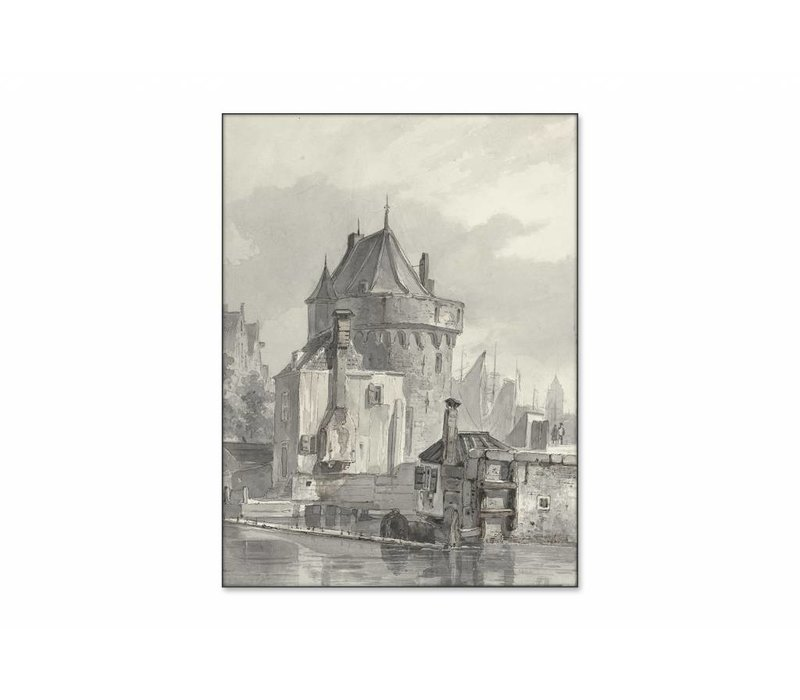 Gezicht op de hoofdtoren te Hoorn • staande afdruk op textiel