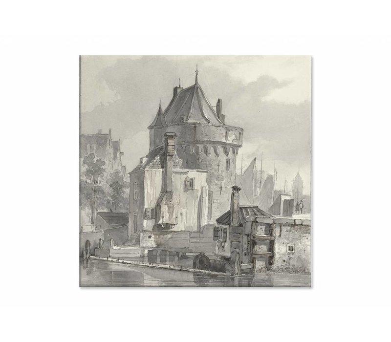 Gezicht op de hoofdtoren te Hoorn • vierkante afdruk op canvas