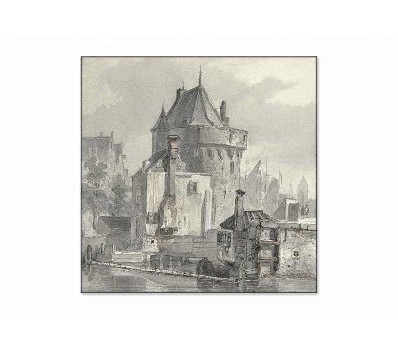 Gezicht op de hoofdtoren te Hoorn • vierkante afdruk op textiel